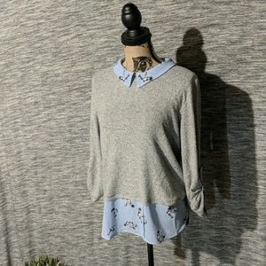 Grey sweater with faux undershirt